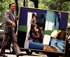 Nicola Simbari in street with painting